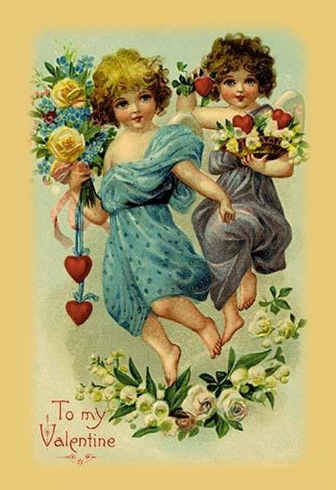 Two Angel Girls With Flowers - Art Print