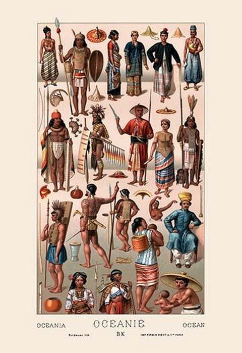Tribal Clothing of Oceania by Auguste Racinet - Art Print