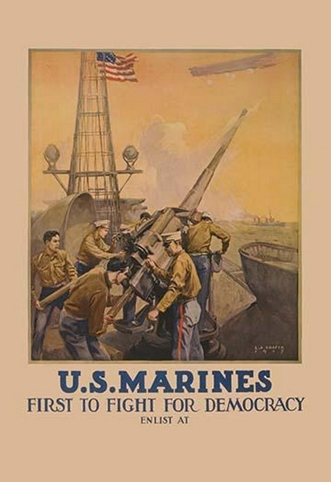 U.S. Marines - First to Fight for Democracy by Leon Alaric Shafer - Art Print