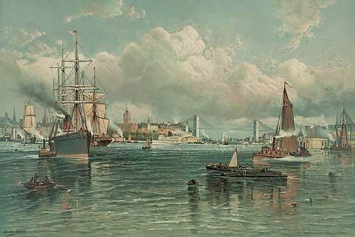 View of New York Harbor with Brooklyn Bridge in background - Art Print