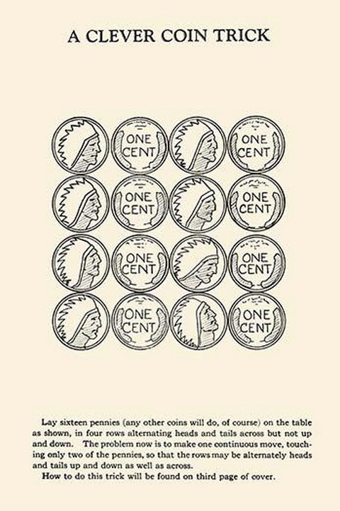 A Clever Coin Trick - 16 Pennies by Harry Houdini - Art Print