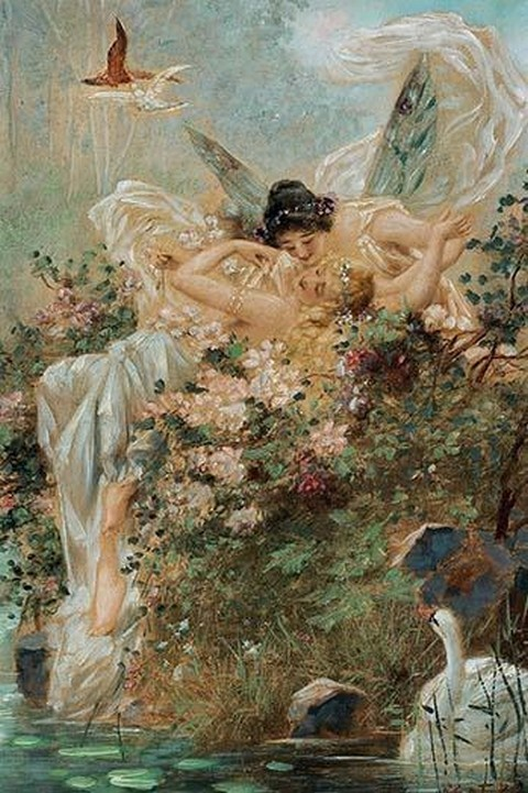 Two Fairies Embracing in a Landscape with a Swan by Hans Zatzka - Art Print