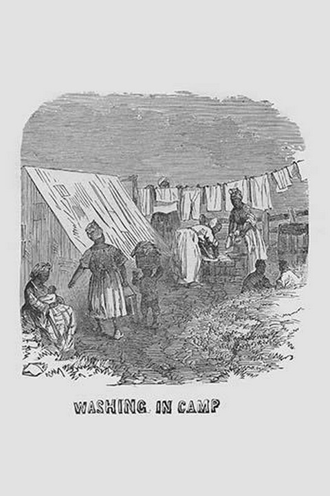 African Americans doing the laundry in camp by Frank Leslie - Art Print