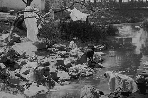 Washing Clothing at Hot Springs in Mexico by Jackson - Art Print