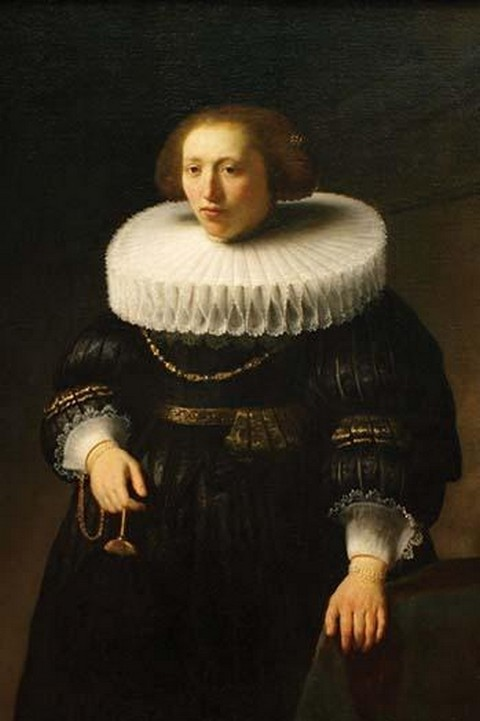 Woman with a Ruff Collar by Rembrandt Van Rijn - Art Print