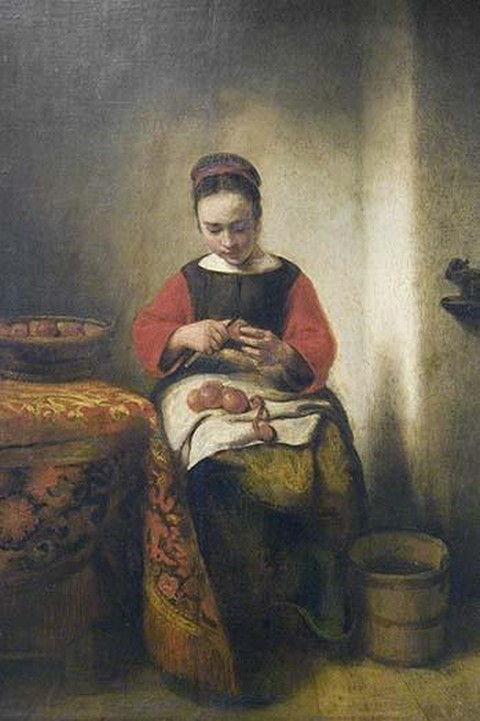 Young Girl Peeling Apples by Nicolaes Maes - Art Print